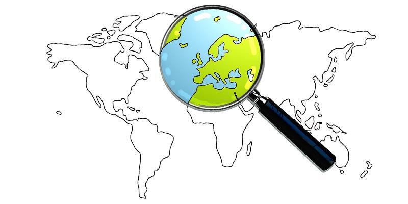 карта мира лупа